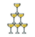 champagne glass pyramid tower engraving vector image vector image