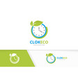 clock and leaf logo combination time and vector image vector image