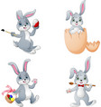collection of white easter rabbit in different pos vector image