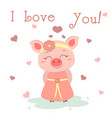 congratulations on valentine s day cute pig in a vector image