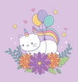 cute caticorn with floral decoration and balloons vector image vector image