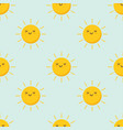 cute pattern sun characters funny happy vector image