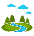 edge of forest with green meadow and blue river vector image