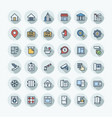 flat color thin line icons set with real vector image vector image