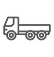 flatbed truck line icon automobile and cargo car vector image vector image