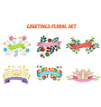 Floral design elements set with ribbons for vector image vector image