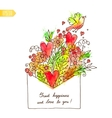 Greeting card with hearts bird and flowers