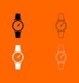 hand watch black and white set icon vector image