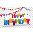 happy birthday design letters with confetti vector image