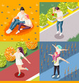 happy people isometric concept vector image vector image