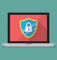 Laptop computer protected by firewall guard vector image vector image