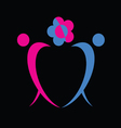 man and woman icon with flower vector image vector image
