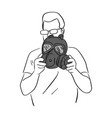 man holding dark gas mask sketch vector image