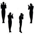 man silhouette in angry pose vector image vector image