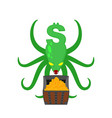 monster dollar protects chest of bitcoins money vector image