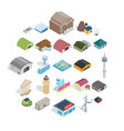 mounting icons set isometric style vector image vector image