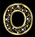 O gold letter with swirly ornaments vector image vector image