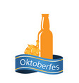 oktoberfest blue ribbon beer bottle image vector image