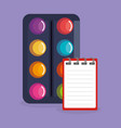 paint pallette and notebook icons vector image