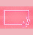 pink neon star frame banner with text space