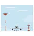 Plane light tower and control tower vector image vector image