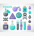 poison flat icon set vector image