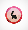 rabbit circle pink triangle background icon vector image