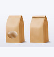 realistic paper bag with a round window vector image vector image