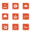 remittance icons set grunge style vector image