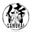 samurai text with samurai warrior sitting cartoon vector image vector image