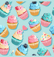 seamless pink and blue cupcake pattern vector image