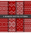 seamless red and white knitted background vector image vector image