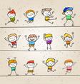 set of hand drawing cartoons concept happy boys vector image vector image