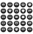 shield badge icons set vetor black vector image vector image