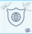 shield with world globe line sketch icon isolated vector image vector image