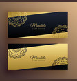 stylish golden mandala banners design vector image vector image