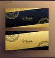 stylish golden mandala banners design vector image vector image