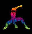 superhero landing action cartoon superhero vector image