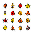 thin line leaves icons set vector image