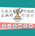 travel line icons set vector image vector image