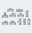 valves and taps icon set vector image