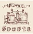 vintage engraving style beer set retro brewery vector image