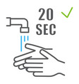 washing your hands 20 seconds color line icon vector image vector image