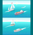 water transport and sailing boats ferry vector image vector image
