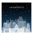 winter night in sacramento night city vector image vector image