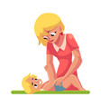 young mother changing her baby s diaper nappy vector image vector image