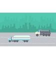 Road tanker and dump truck landscape vector image