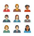 call center agents flat avatars vector image
