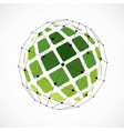 3d low poly spherical object with black connected vector image vector image