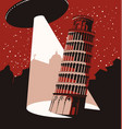 banner with a flying ufo above leaning tower vector image